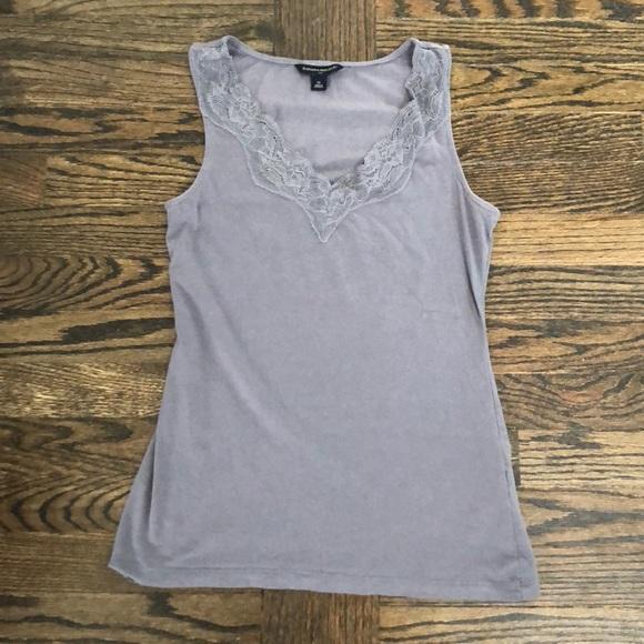 3e6e26d02171e Banana Republic Tops - Banana Republic Gray Lace Trimmed Tank Top